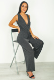 Silver Glitter Plunge Pleated Jumpsuit