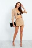 Camel Faux Suede Frill Hem Jacket And Skirt Set