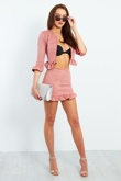 Blush Faux Suede Frill Hem Jacket And Skirt Set