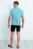 Teal And White Striped Pocket Front Shirt