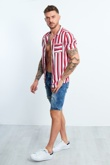 Red And White Striped Pocket Front Shirt