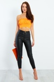 Orange Ruffle Spaghetti Strap Crop Top