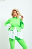 Neon And White Peplum Top Pants Co-ord Set