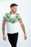 White Rain Forest Print Polo Shirt