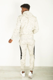 Mens Cream Marl Colour Block Tracksuit