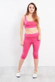 Fuchsia Active Wear Crop Top And Leggings Set