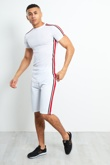 TS2352-Mens White Contrast Side Stripe Shorts Set
