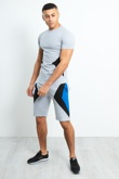 TS2353-Mens Grey Geo Panel Detail Shorts Set