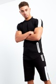 Mens Black Side Contrast Panel T-Shirt And Shorts Set