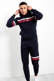 Mens Navy Contrast Stripe Pullover Tracksuit