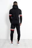 Mens Black Contrast Stripe Pullover Tracksuit