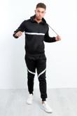 Black White Stripe Pull Through Hooded Tracksuit