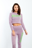 Lilac Marl Paris Slogan Hooded Lounge Set
