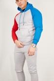 Mens Grey Colourblock Pullover Skinny Tracksuit