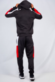Mens Black With White And Red Side Band Pullover Tracksuit
