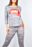 Grey Lip Print Loungewear Set