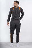 Charcoal Contrast Strap Cargo Tracksuit