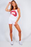 White Lip Print Contrast Shorts And Vest Set