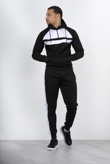 Mens Black With White Front Panel Hooded Tracksuit