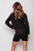 Black Cable Knit Jumper & Shorts Lounge Set