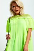 Neon Green Pleated Dress with Lace