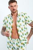 Mens White Pineapple Print T-Shirt and Short Set