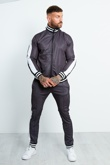 Mens Charcoal And Black Chequered Side Stripe Tracksuit
