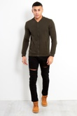 Mens Khaki Zip Up Sweat Jacket