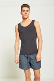 Mens Charcoal Ribbed Vest Top