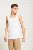 Mens White Ribbed Vest Top