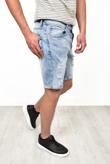 Mens Pale Blue Ripped Denim Shorts
