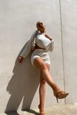 White Knitted Shorts Lounge Set