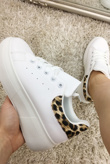 White Leopard Printed Chunky Trainers