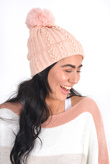 Pink knitted pearl detail woolly hat