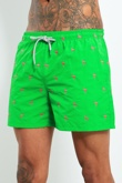 Mens Green Flamingo Print Swim Shorts