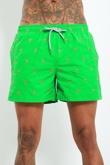 WW6116CCS-Mens Green Flamingo Print Swim Shorts