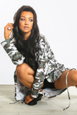 White Camo Sequin Angel Wings Hooded Cardigan