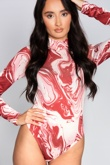 Wine Abstract High Neck Marble Print Bodysuit