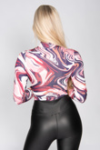 Wine High Neck Marble Print Bodysuit