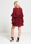 Wine Pleated Ruffle Mini Dress