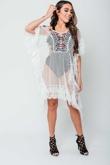 Arianna Ajtar Modelled White Crochet Beach Cover Top