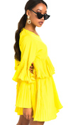 Yellow Pleated Ruffle Mini Dress