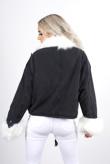 Black Faux Fur Trim Denim Jacket