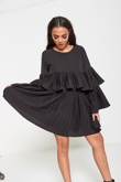 Black Pleated Ruffle Mini Dress
