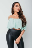 Arianna Ajtar Modelled Mint Green Cross Front Strap Crop Top