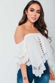 Arianna Ajtar Modelled White Crochet Trim Bardot Top