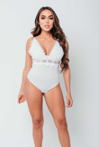 Arianna Ajtar White Lace Trim Plunge Bodysuit