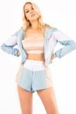 Baby Blue Colourblock Hooded Jacket And Shorts Set