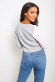 Baby Pink Colour Block Cropped Cardigan