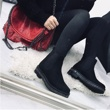 Black Suede Classic Chelsea Boot With Diamante Detail